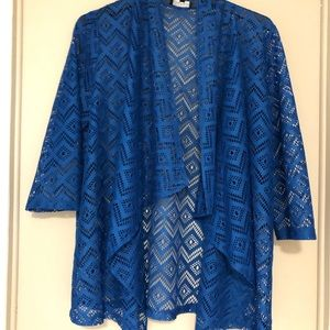 Open Weave look Bright Blue Cardigan Large